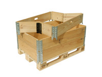 Box with pallet and wooden frames